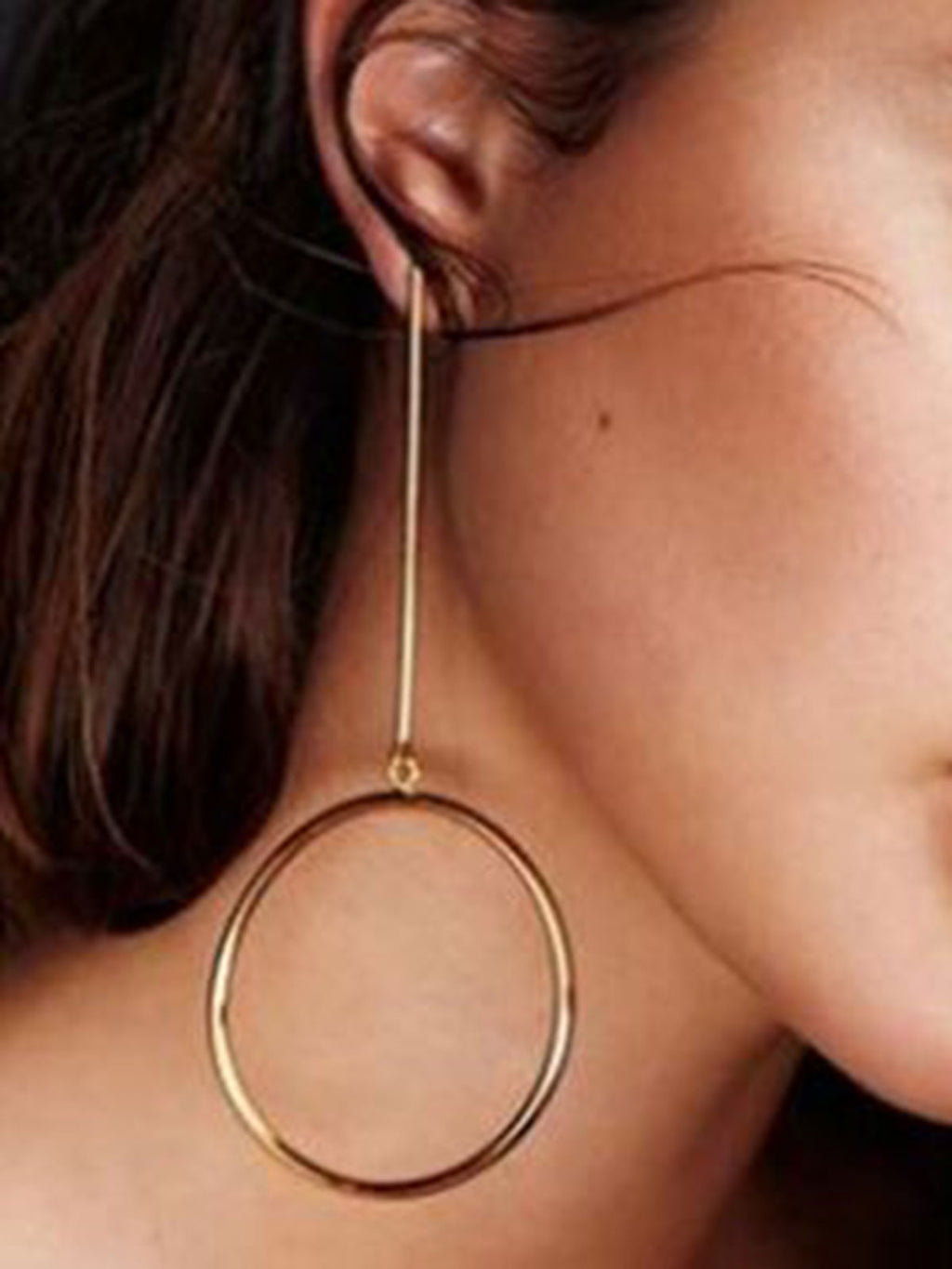 Copper Geometric Ring Drop Earrings
