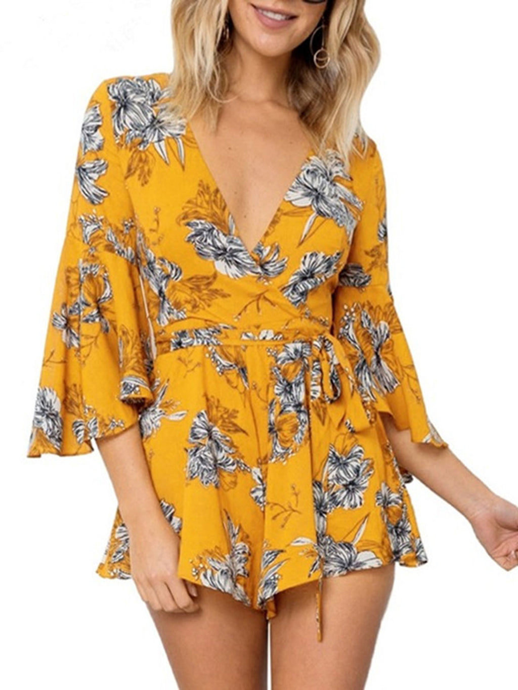 Flare Sleee Floral Print V-Neck Lace-Up Romper