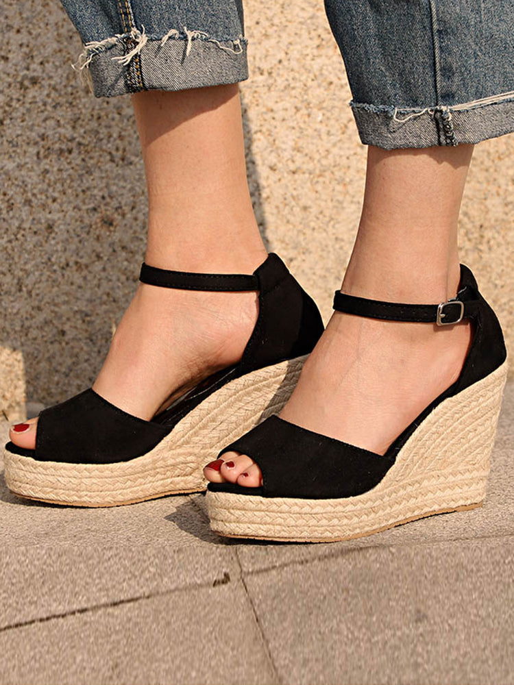 3c5110fb2 Solid Color Peep Toe Ankle Strap Buckle Wedges