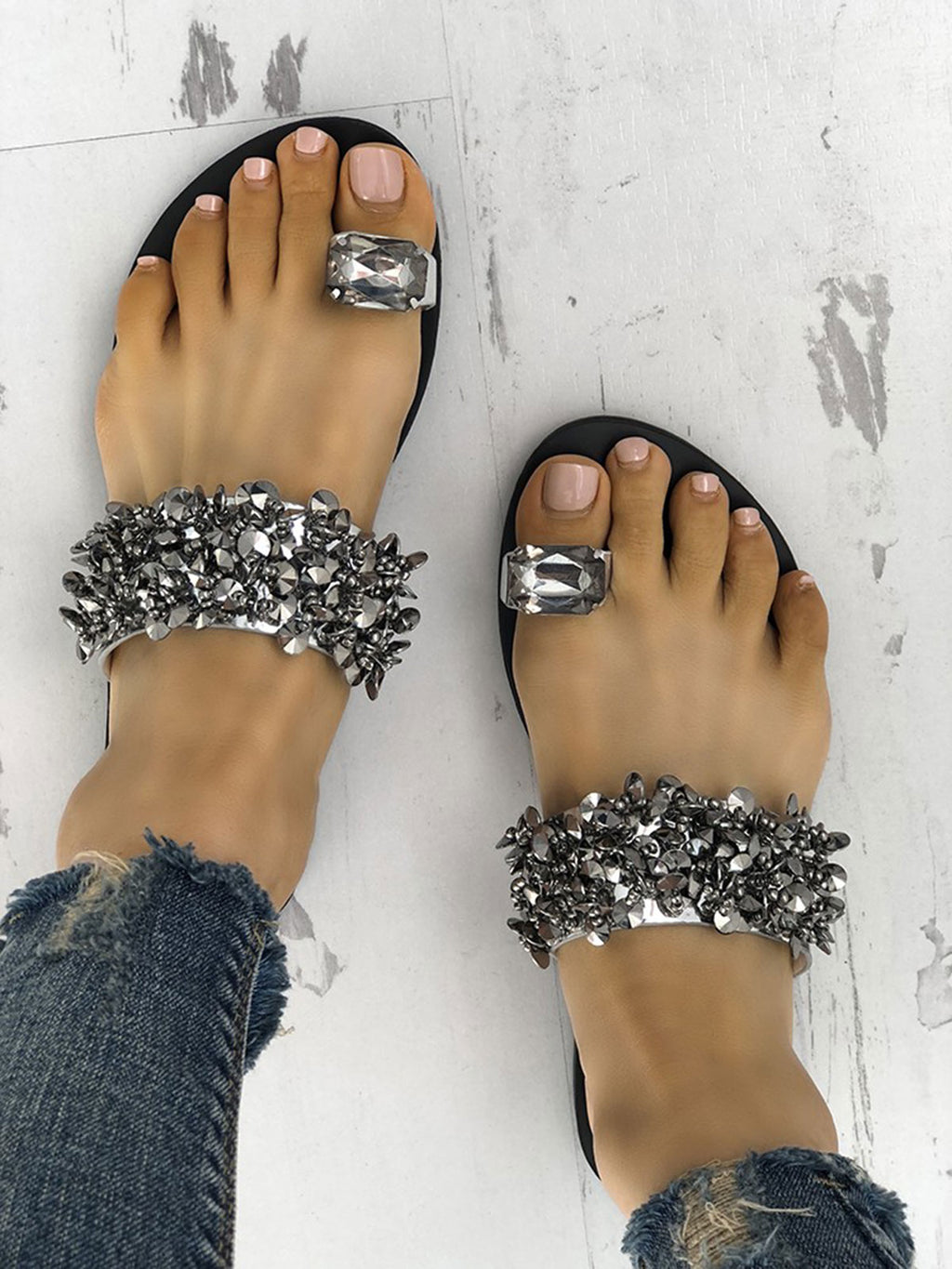 Sequins Rhinestone Toe Ring Flats