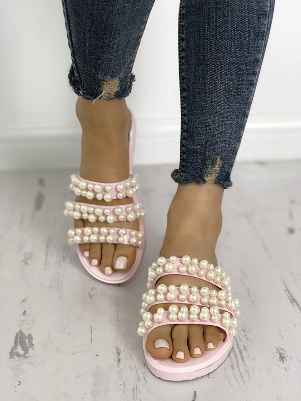 Pearls Embellished Thick Strap Flats