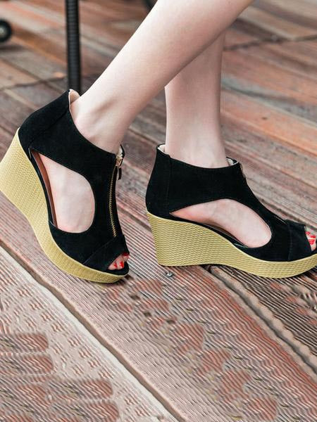 Solid Color Zipper Hollow Patchwork Wedges