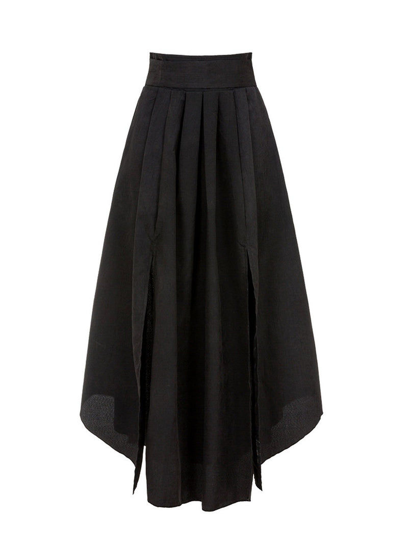 Black Pleated Asymmertric Patchwork Evening Gowns Maxi Dresses Rikkishop
