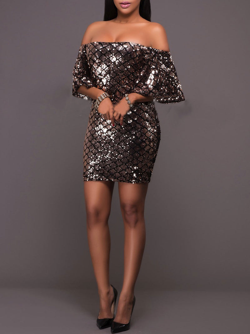 Off Shoulder Sequins Sheath Dress