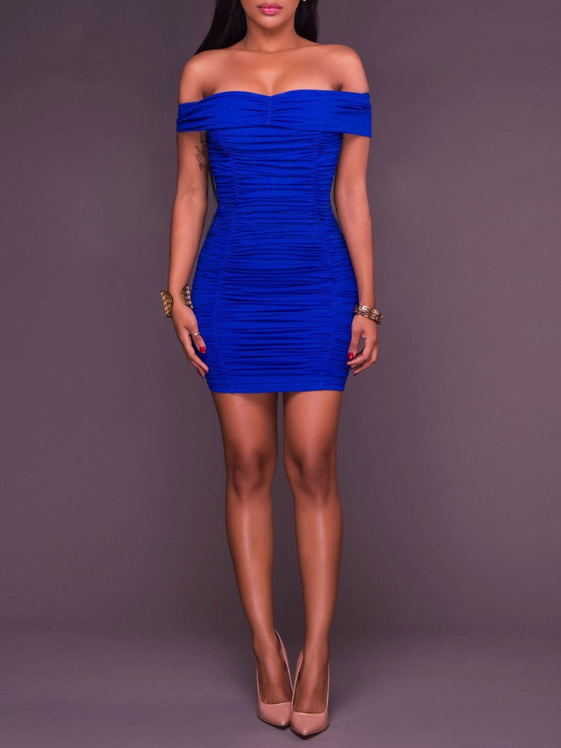 Solid Color Pleated Slash Neck Sheath Dress