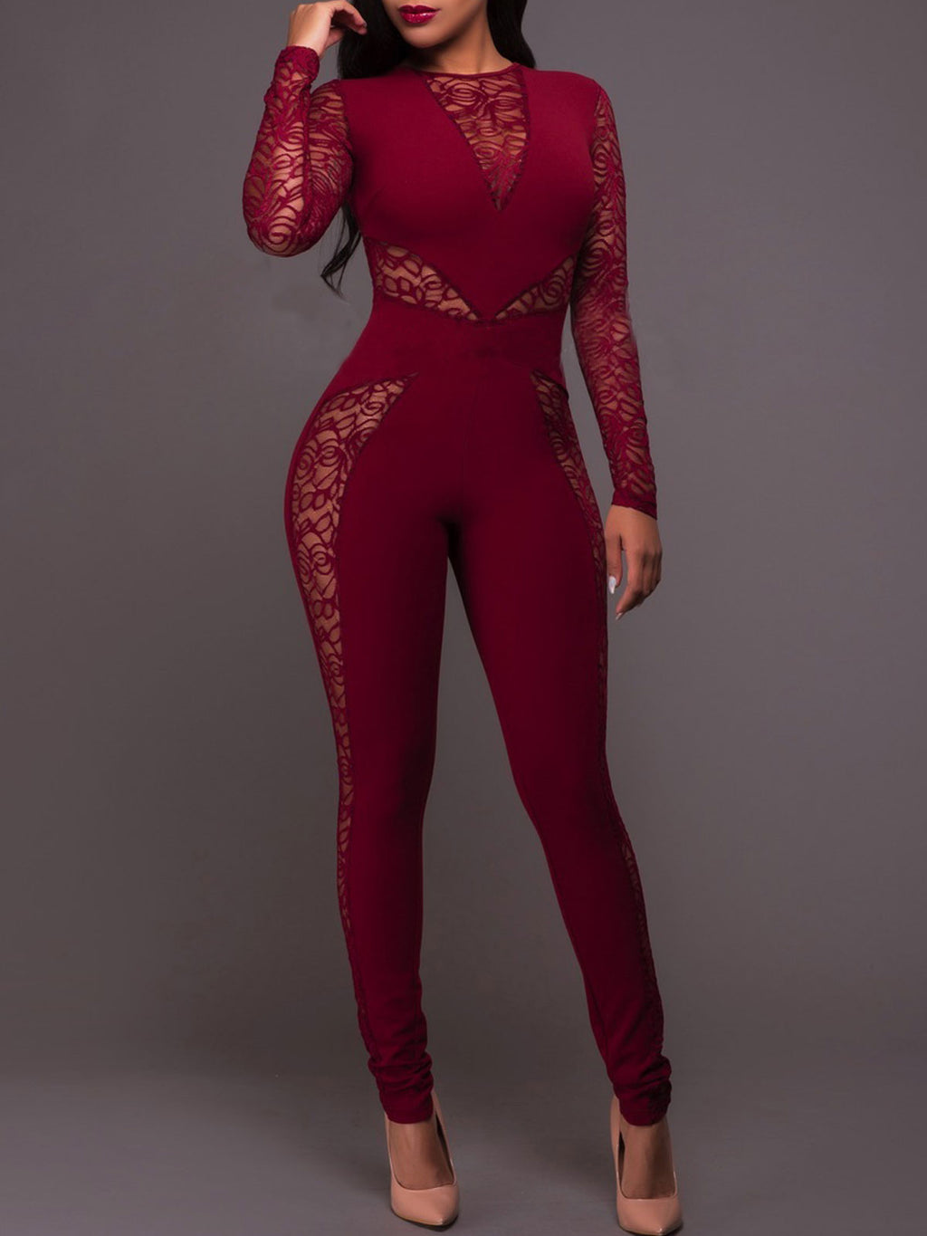 Basic Long Sleeve Sexy Mesh Overlay Lace Patchwork Skinny Jumpsuit Rikkishop