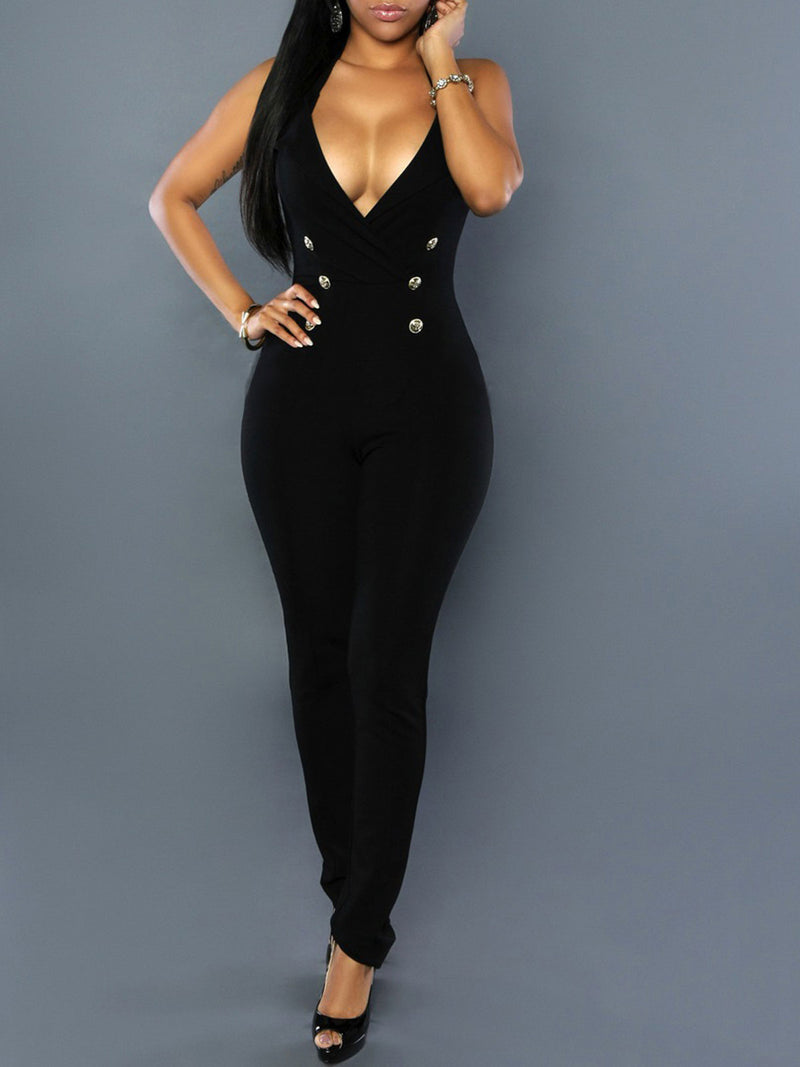 Plus Size Basic White&Black Sexy Button Sleeveless V-Neck Jumpsuit Rikkishop