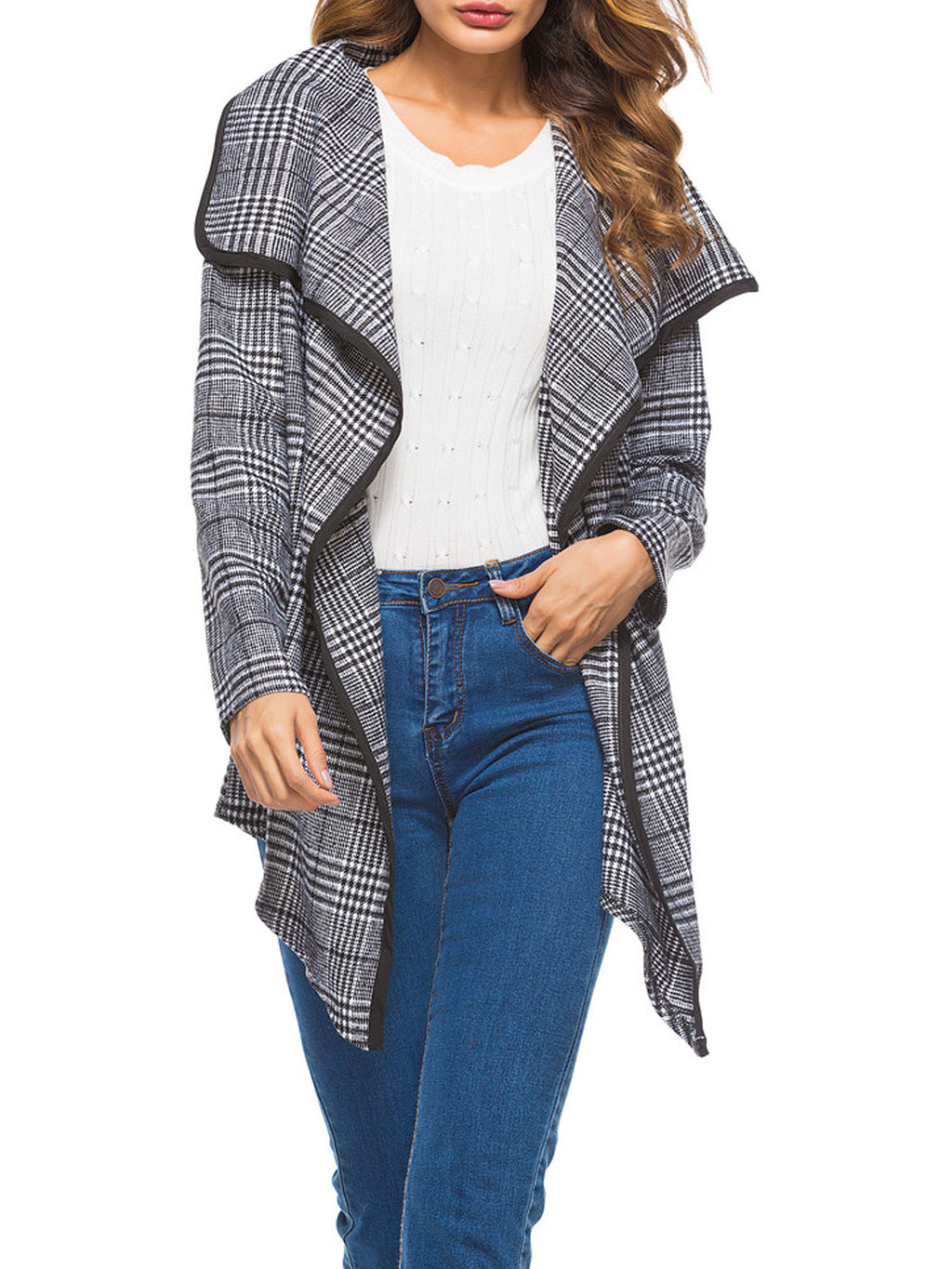 Asymmetric Plaid Trench Coat