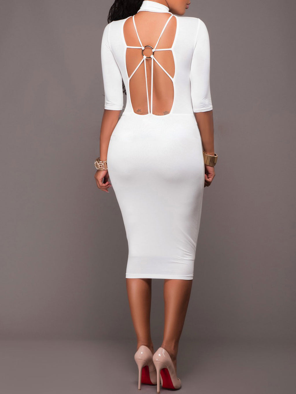 White&Black Party Dress Open Back Long Sleeve Basic Bodycon Midi Dress Rikkishop