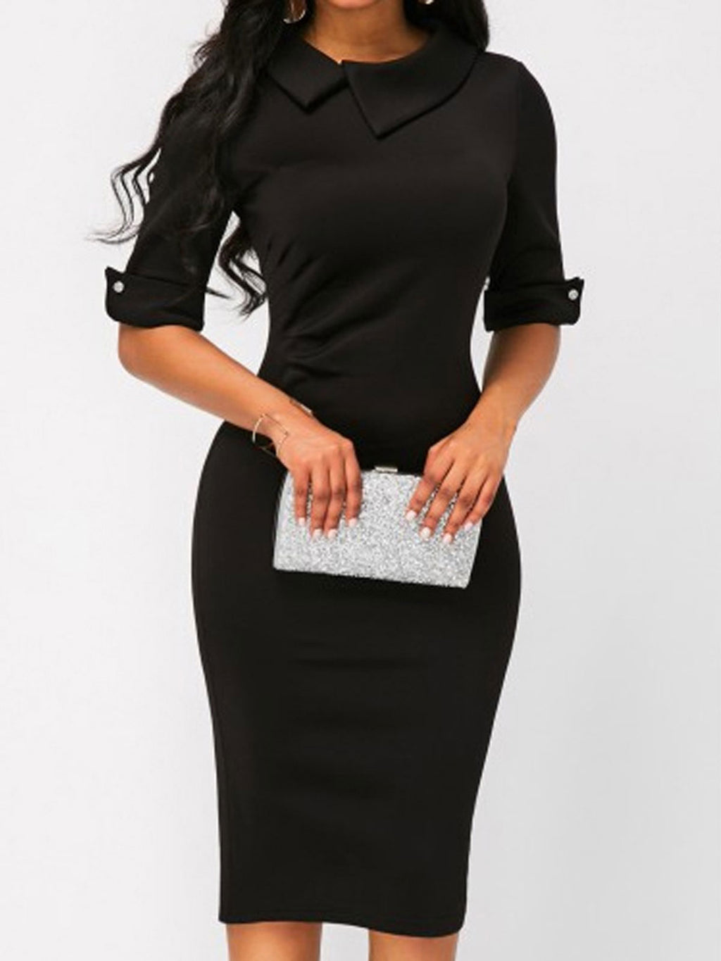 Black Basic Plus Size Bodycon Sheath Work Office Pencil Bodycon Dress Rikkishop