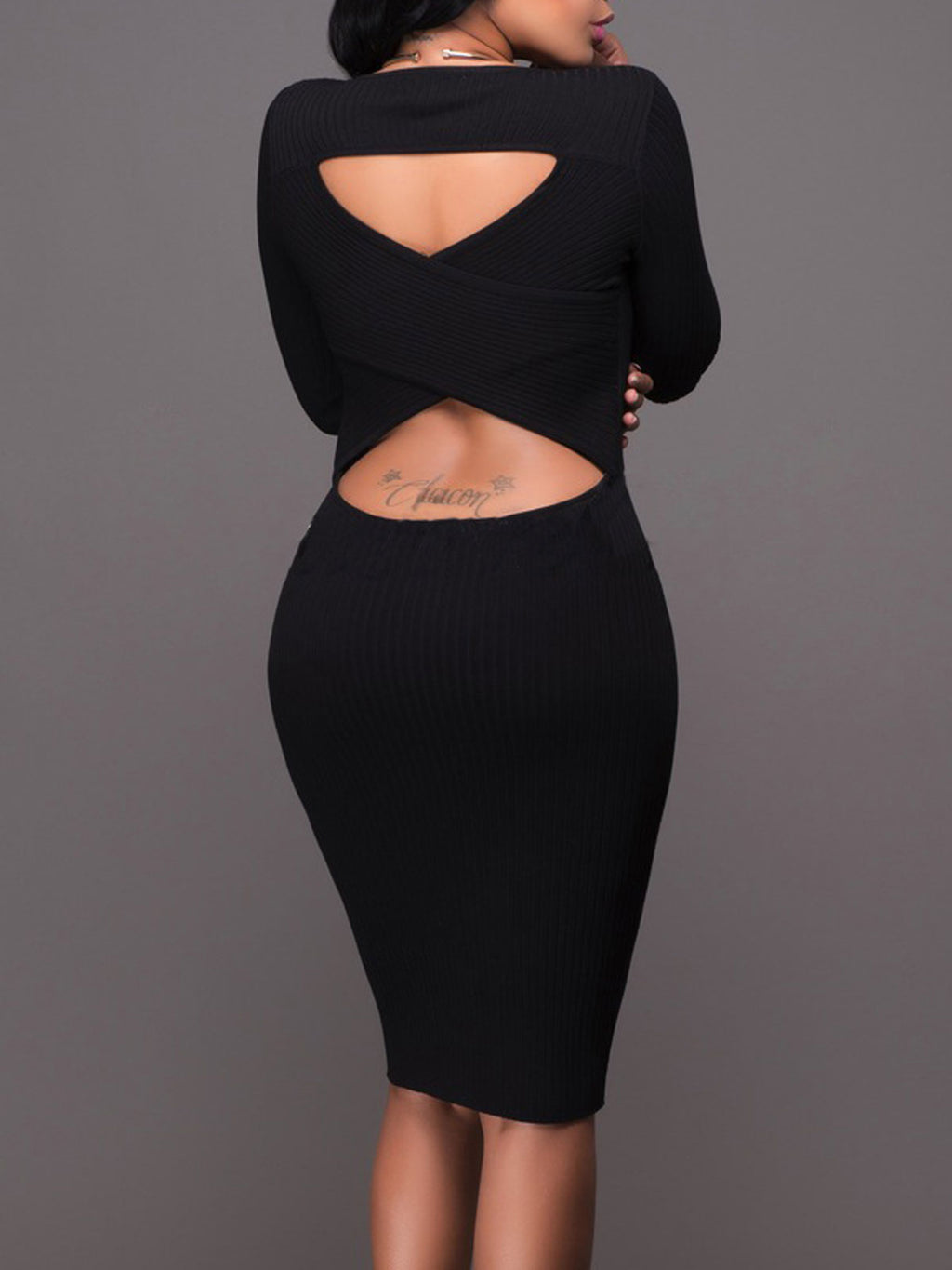 Sexy Long Sleeve Casual Basic Knitted Hollow Sheath Party Fashion Bodycon Dress Rikkishop