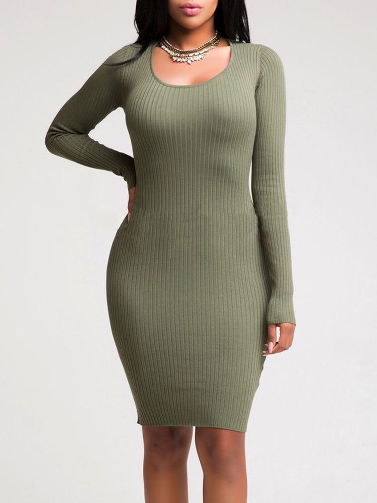 89d25f8761 Solid Color Knitted Hollow Sheath Dress