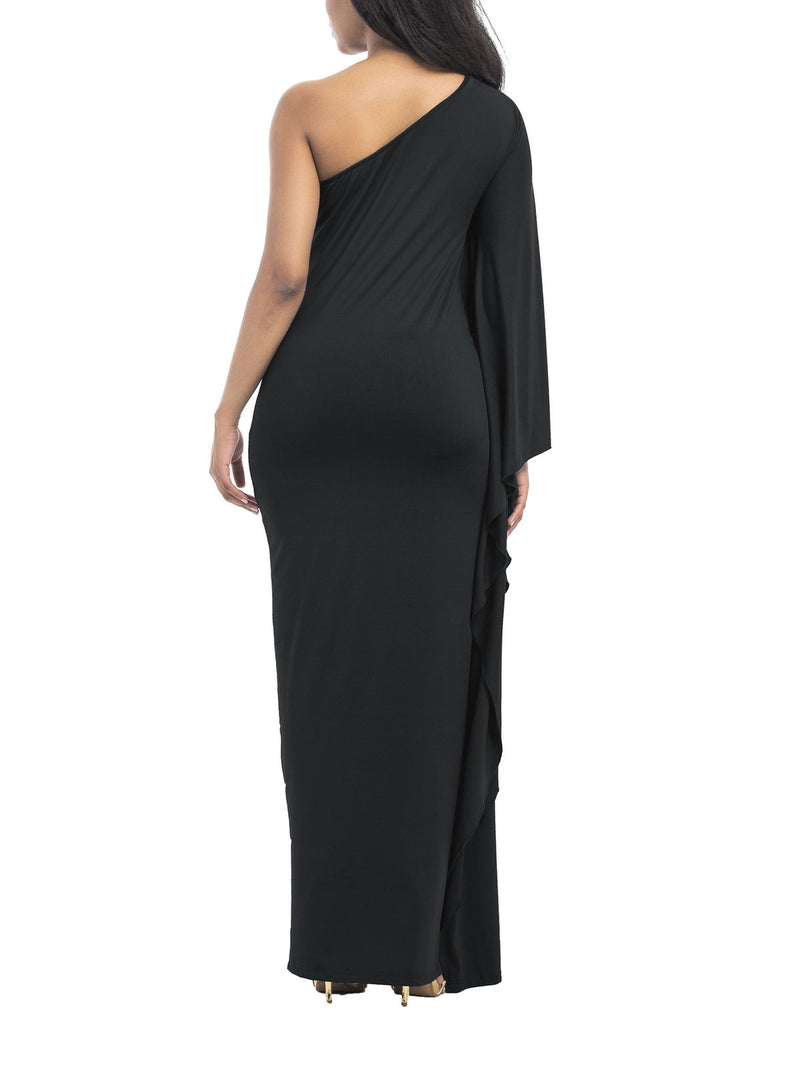 Solid Color Single Sleeve Oblique Shoulder Maxi Dress