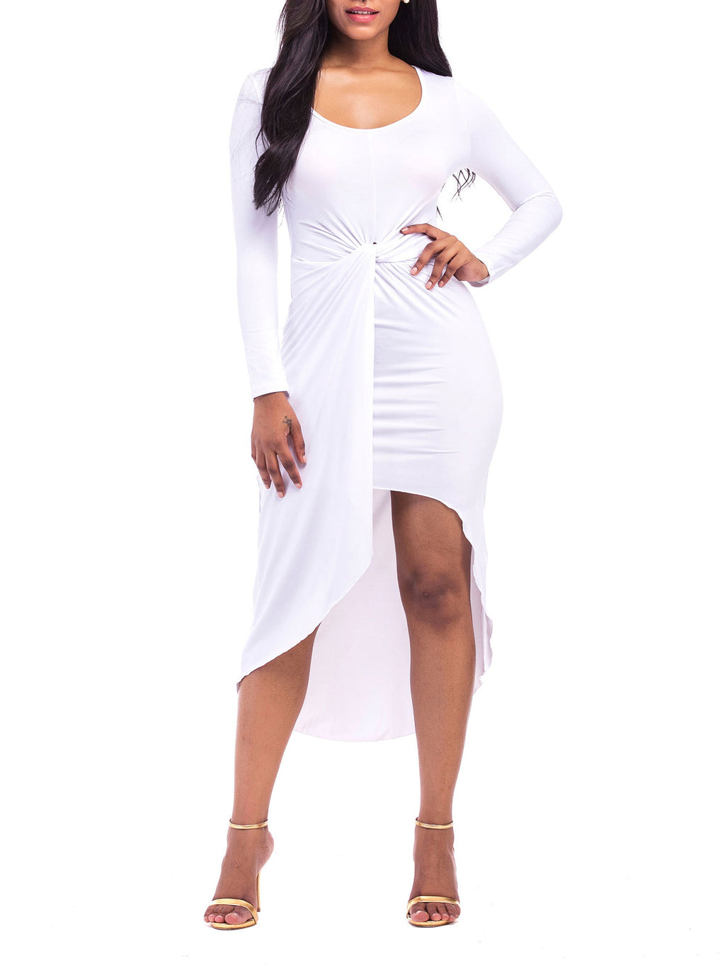 Plus Size Long Sleeve Sexy Asymmetric Pleated Bodycon Dress Rikkishop
