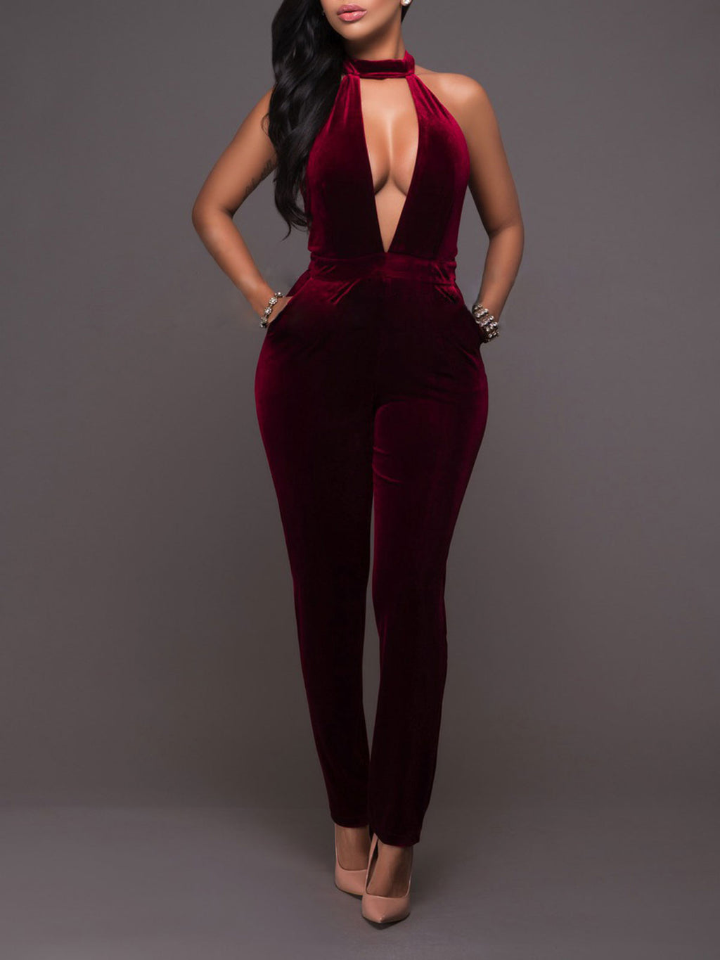 2019 Sexy Wine Red Hunter Holiday Party Dating Halter Hollow Jumpsuits & Rompers Rikkishop