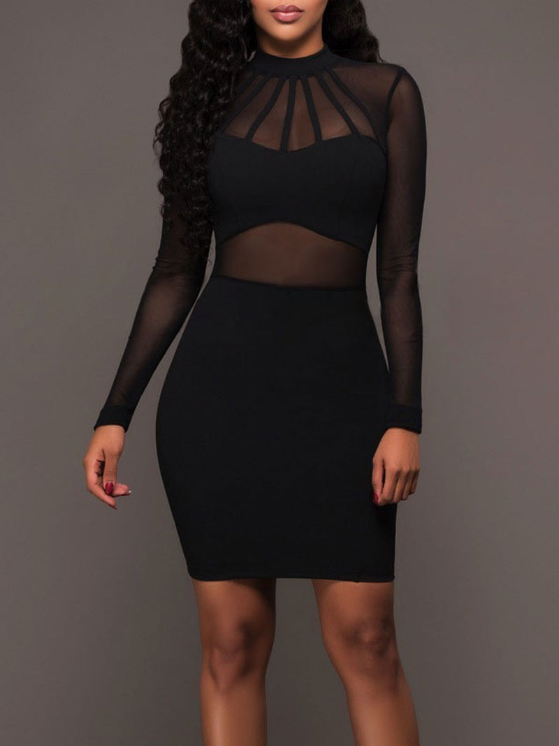 Long Sleeve Mesh Overlay See-Through Stand Collar Sheath Party Bodycon Dress Rikkishop