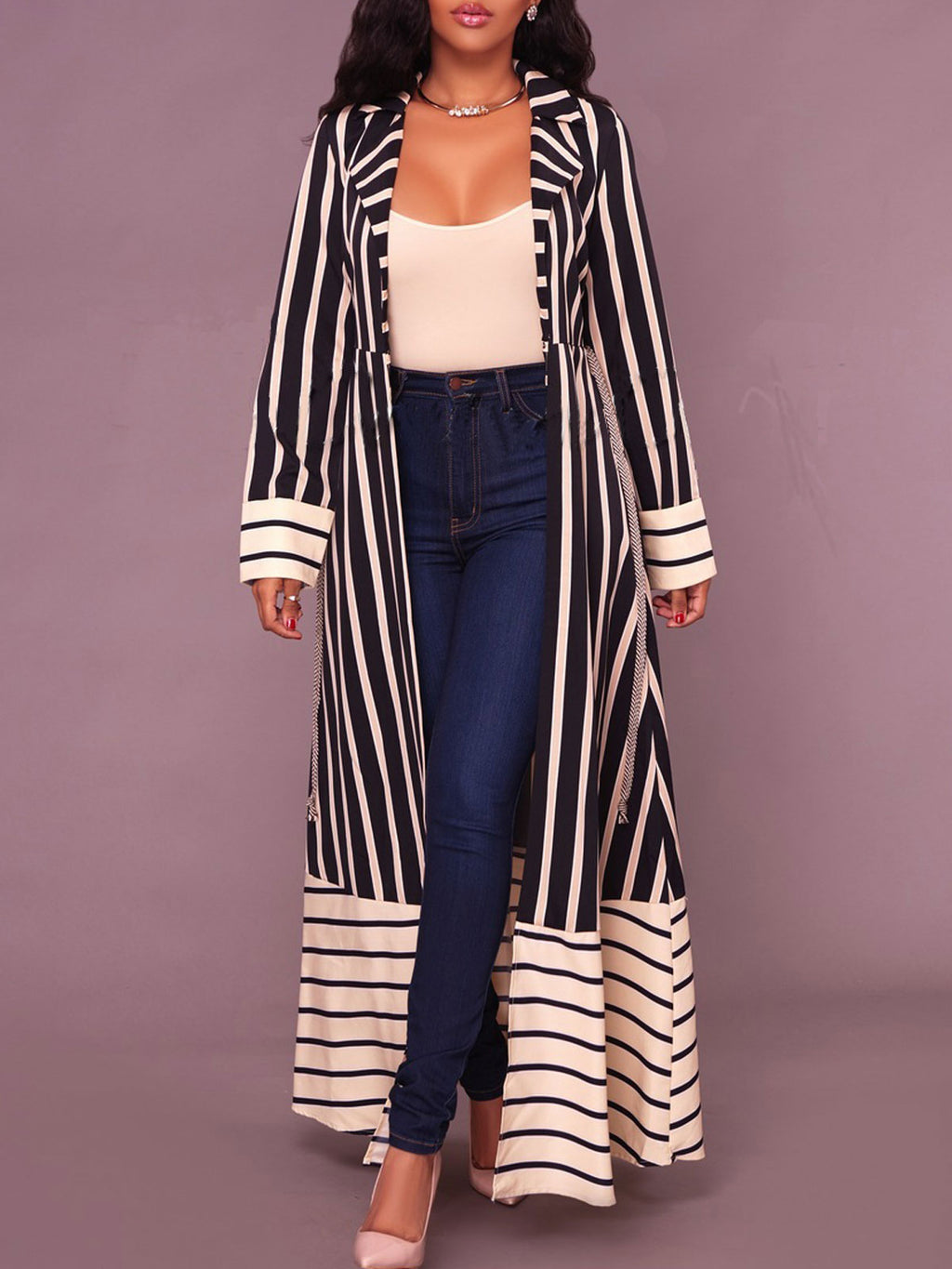 Stripes Patchwork Trench Coat