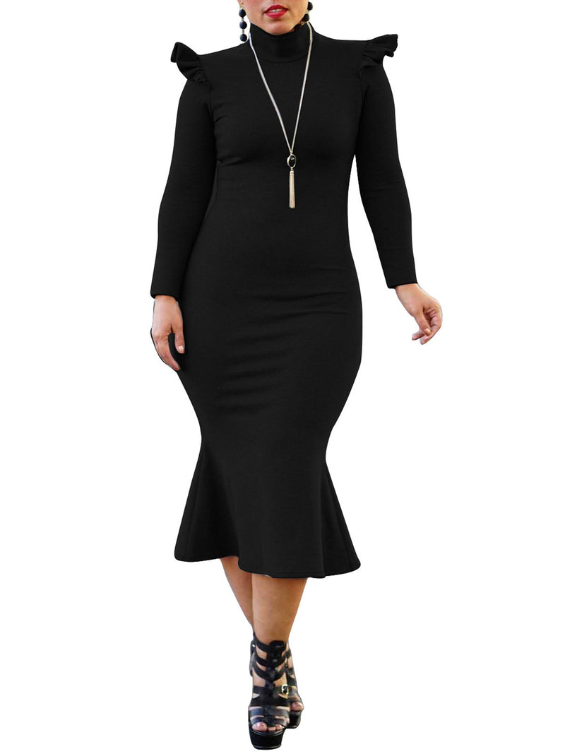Solid Color Stand Collar Long Sleeve Sheath Dress