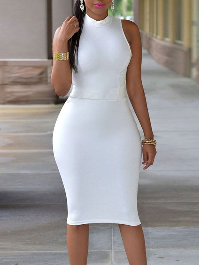 Solid Color Stand Collar Hollow Sheath Dress