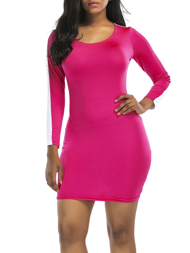 Color Block Round Neck Sheath Dress