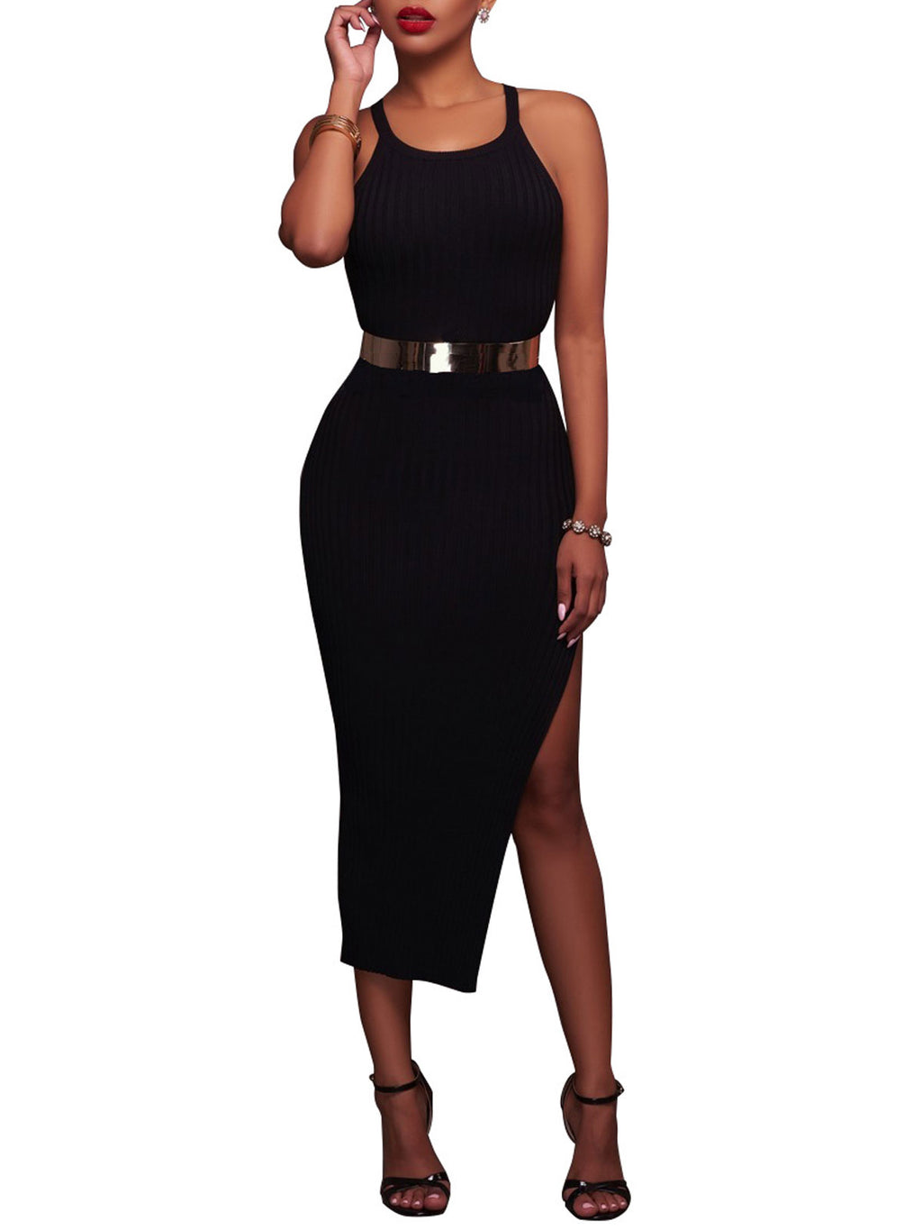 Basic Plus Size Spaghetti Strap Split Sleeveless Evening Gowns Long Sleeve Bodycon Dress Rikkishop