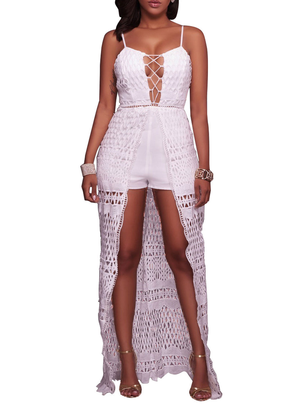 Lace Hollow Patchwork Open Back Spaghetti Romper