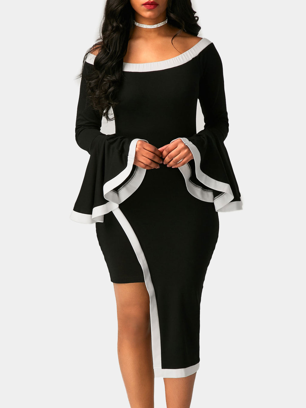 Plus Size Flare Sleeve Asymmetric Daily Long Sleeve Bodycon Dress Rikkishop