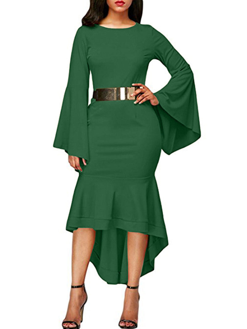 Solid Color Asymmetric Flare Sleeve Sheath Dress