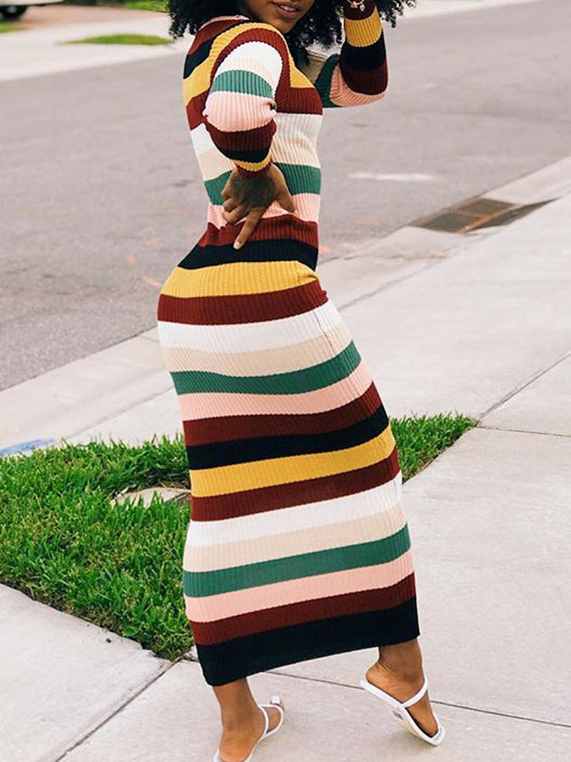 Striped Plus Size Long Sleeve Casual Bodycon Maxi Dress Rikkishop