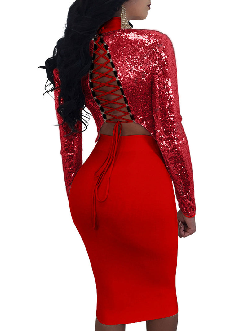 Solid Color Sequins Lace-Up Hollow Top And Skrit Suit