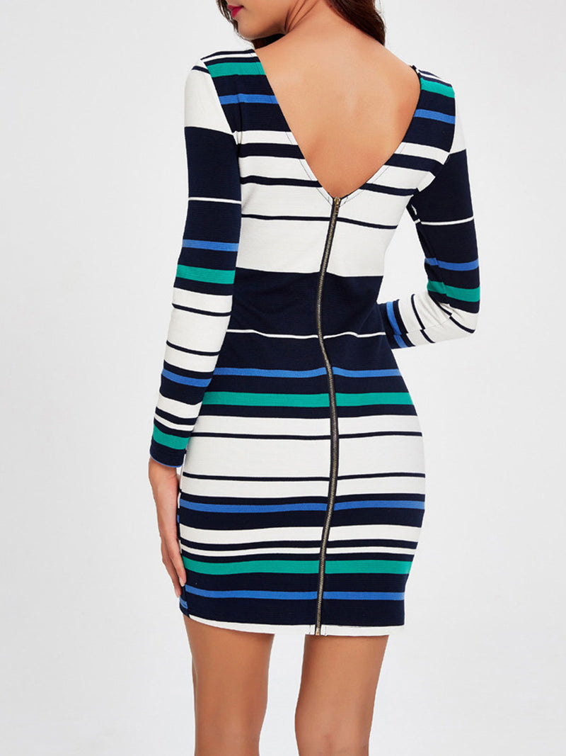 Stripe Zipper V-Neck Sheath Dress