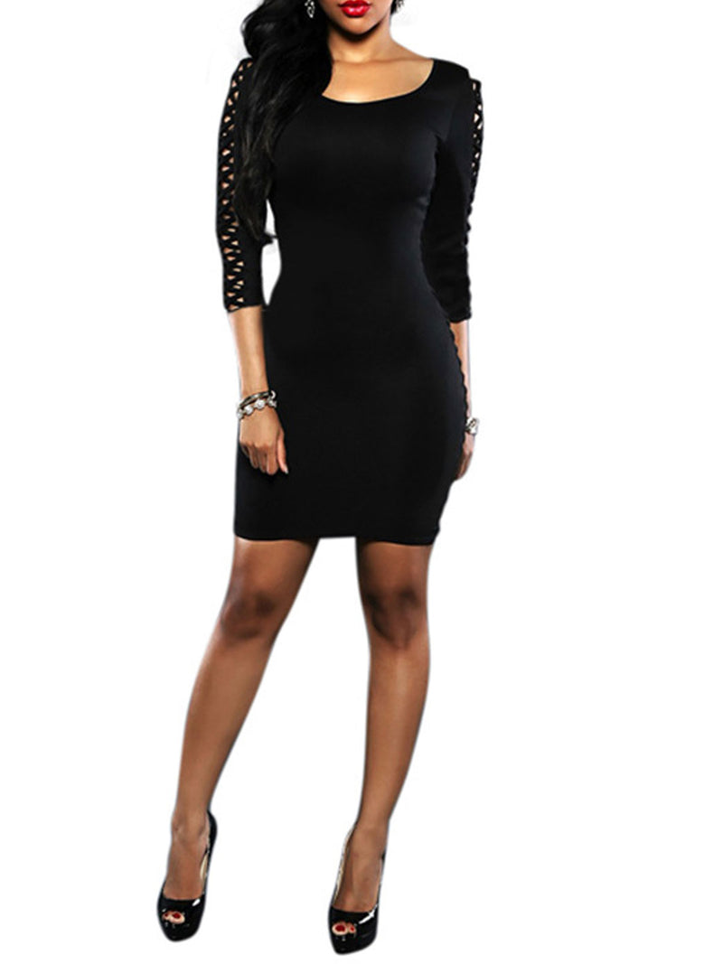 Hollow Three-Quarter Sleeve Dress