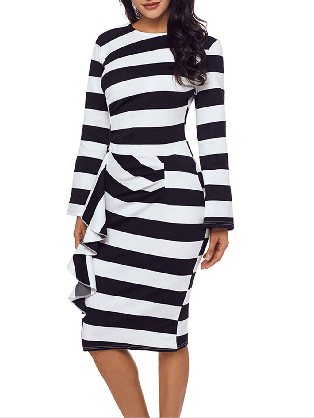 Bow Stripe Long Sleeve Falbala Sheath Comfortable Bodycon Dress Rikkishop