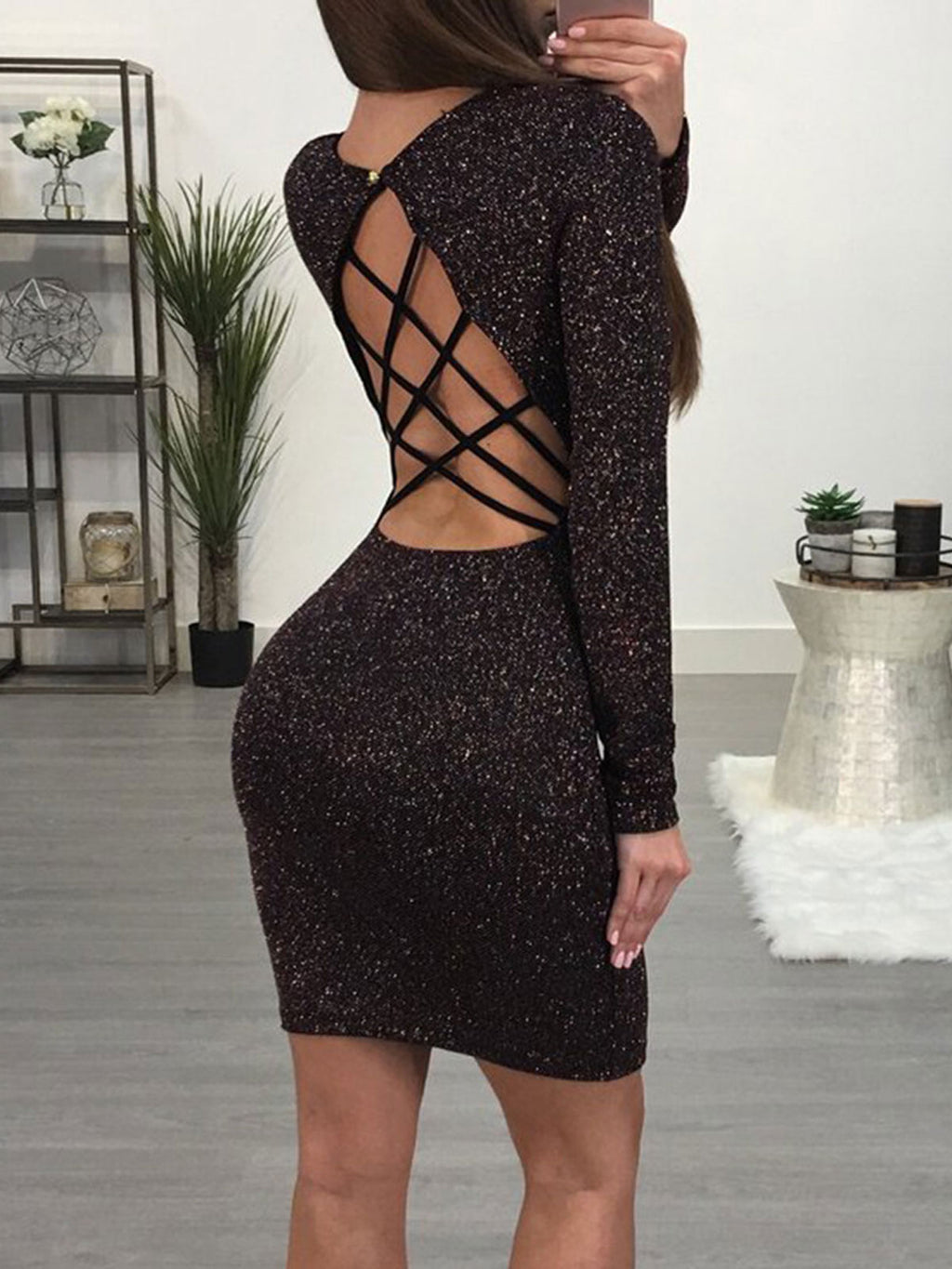 Plus Size Sexy Long Sleeve Sequin Open Back Hollow Sheath Bodycon Dress Rikkishop