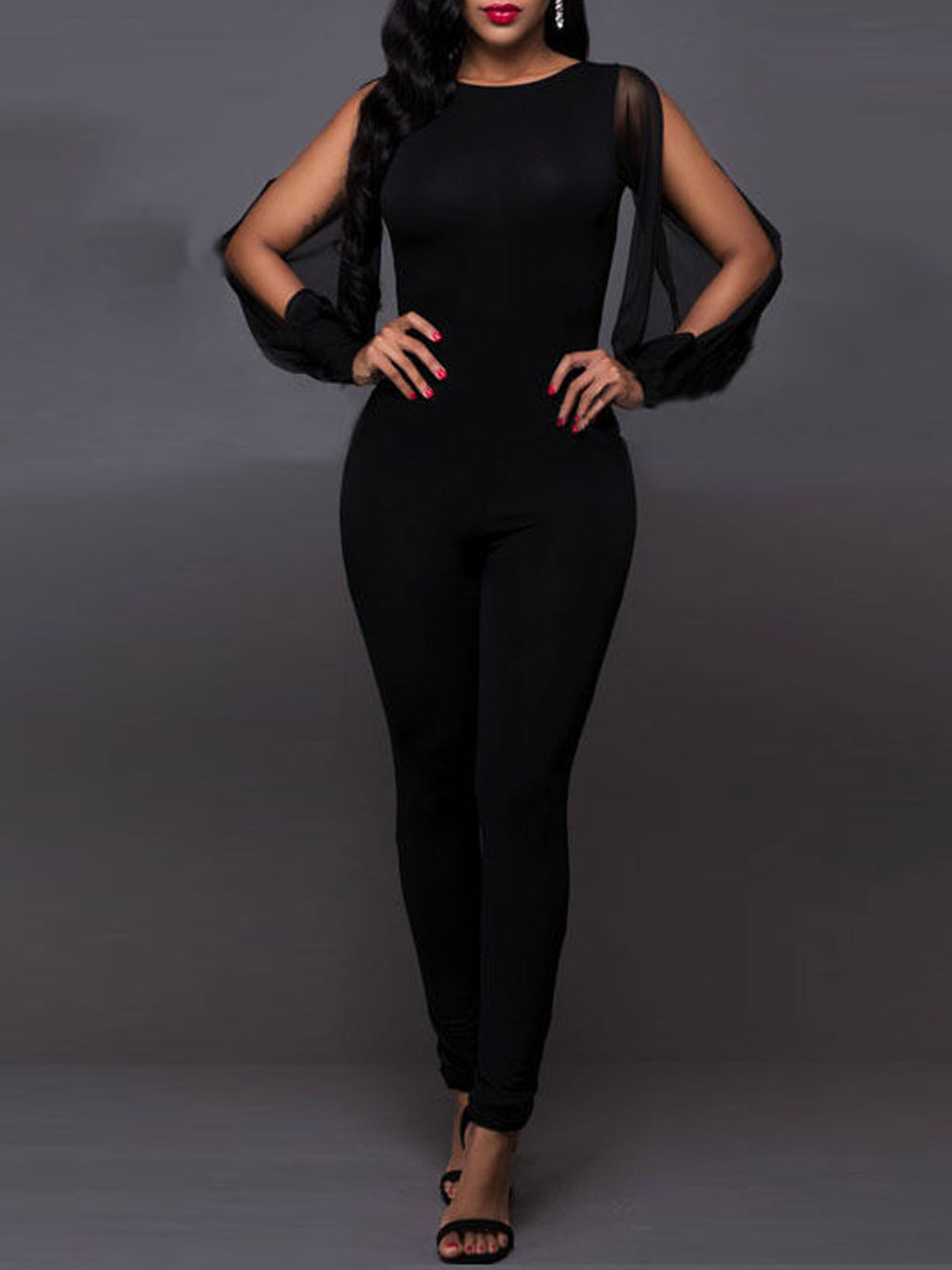Black Sexy Mesh Overlay Basic Hollow Open Back Jumpsuit Rikkishop