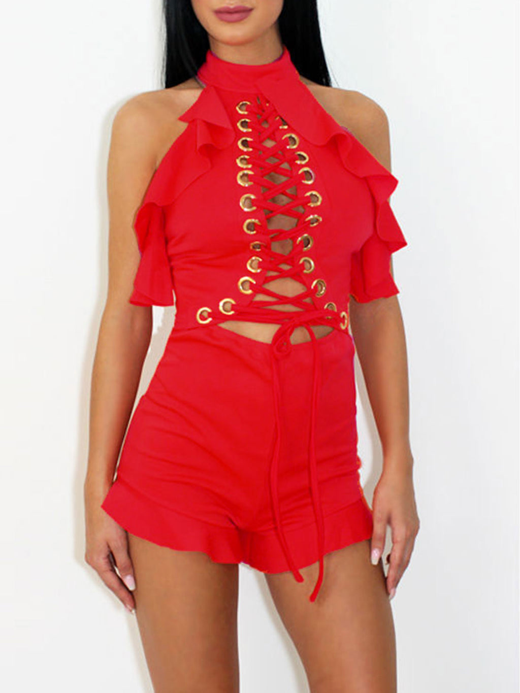 Solid Color Hollow Lace-Up Falbala Halter Backless Romper