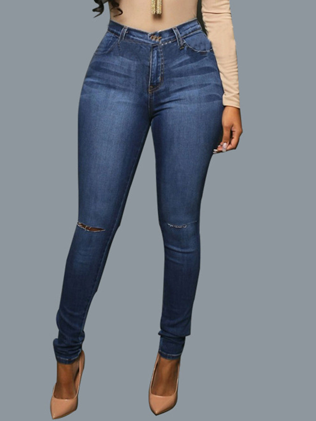 Elastic High-Waist Worn Hole Jeans