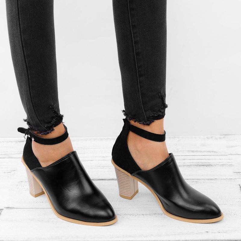 Women PU Sandals Chunky Heel Casual Comfort Booties Shoes