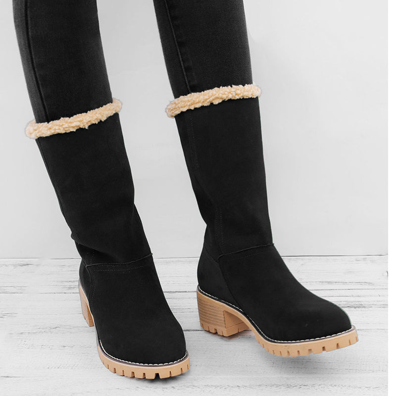 aaf6872cef9 Rikkishop Women's Suede Leather Ankle Snow Boots