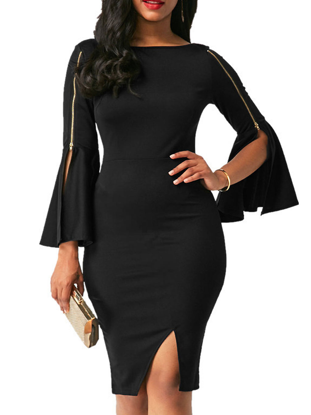Black Statement Party Flare Sleeve Slit Zipper Bodycon Dress Rikkishop
