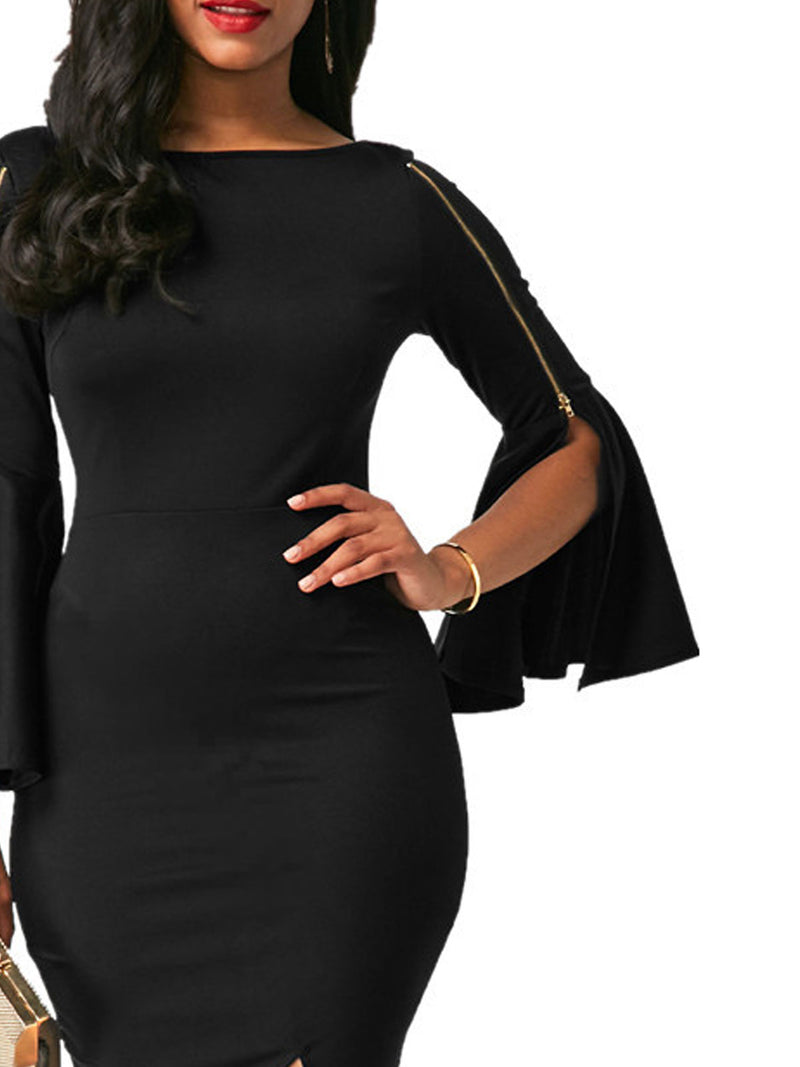 Solid Color Zipper Slit Flare Sleeve Sheath Dress