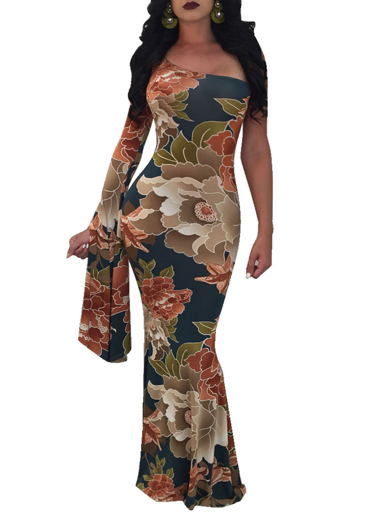 Floral Print One Shoulder Flare Sleeve Maxi Dress