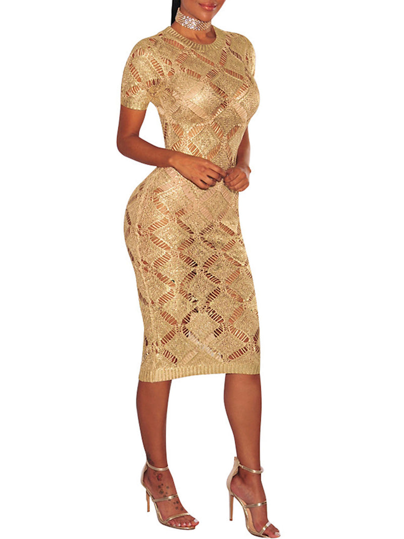 Gold&Rose Gold Plus Size Sexy Sequin Short Sleeve Hollow Knitted Sheath Party Bodycon Dress Rikkishop