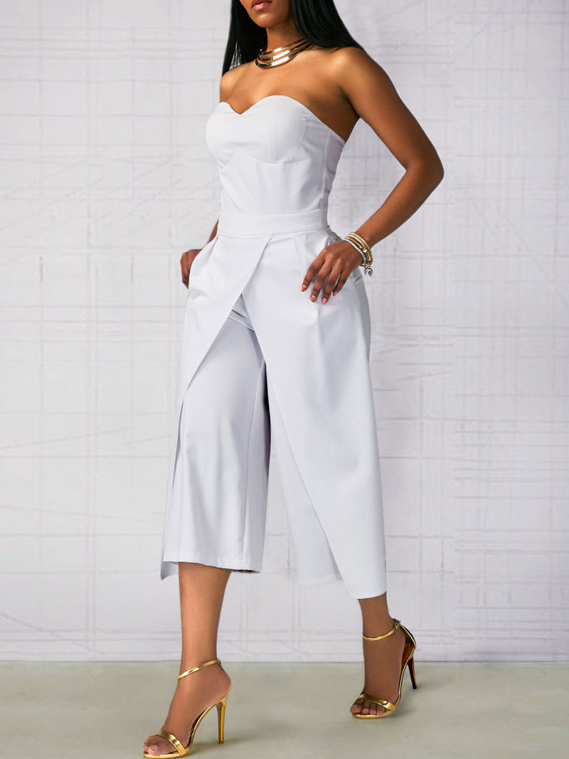 Solid Color Patchwork Asymmertric Mid-Calf Jumpsuit
