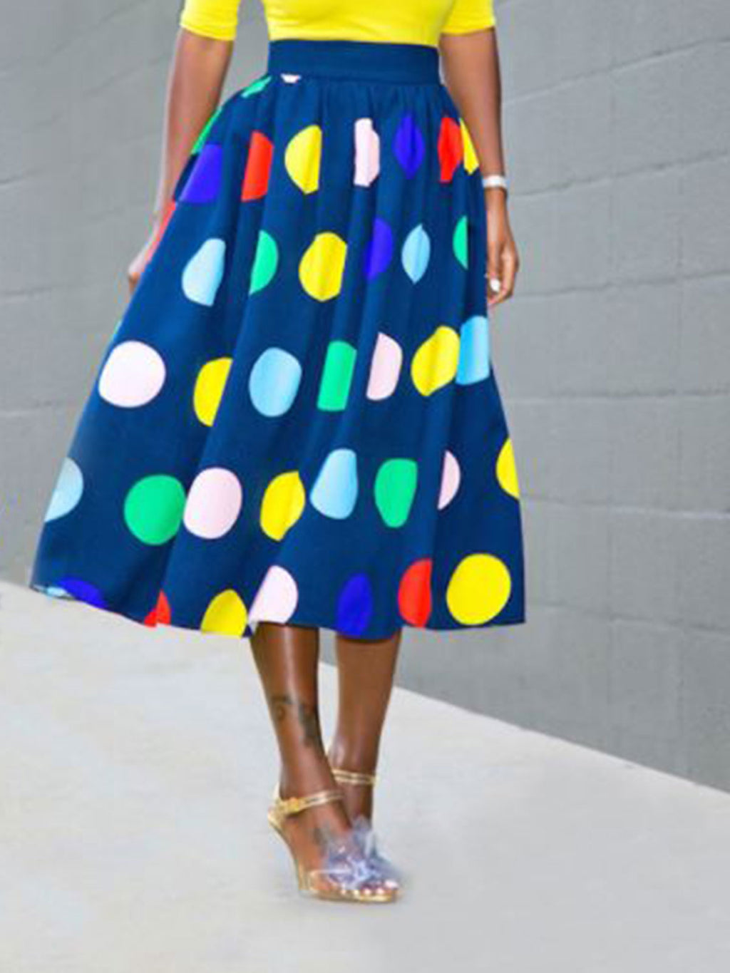 Polka Dots Pleated A-Line Skirt
