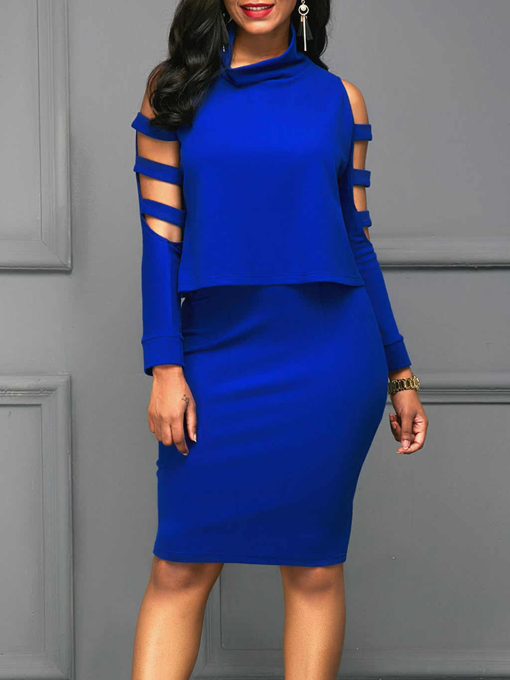 Solid Color Cold Shoulder Heap Collar Top And Skirt Suit