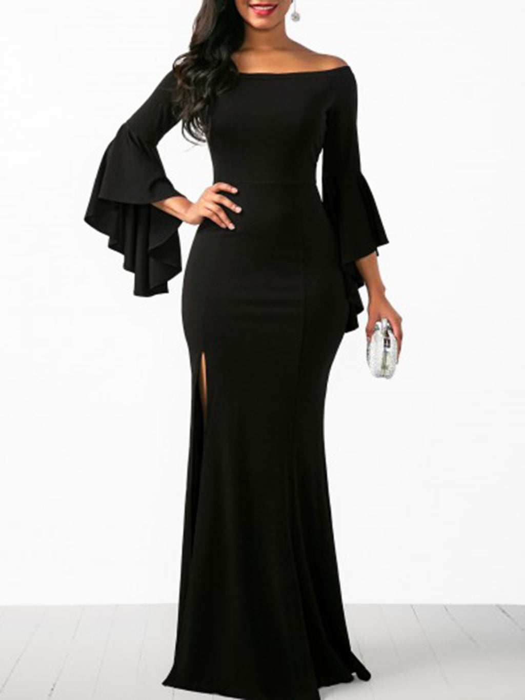 Black Flare Sleeve Cold Shoulder Slit Maxi Bodycon Evening Gowns Dress Rikkishop
