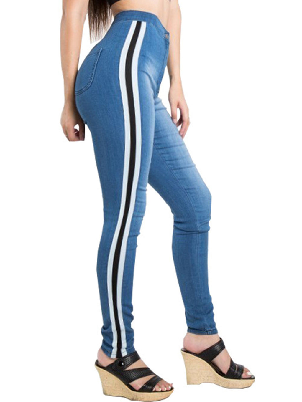 Gradient Stripe Pocket Full Length Jeans