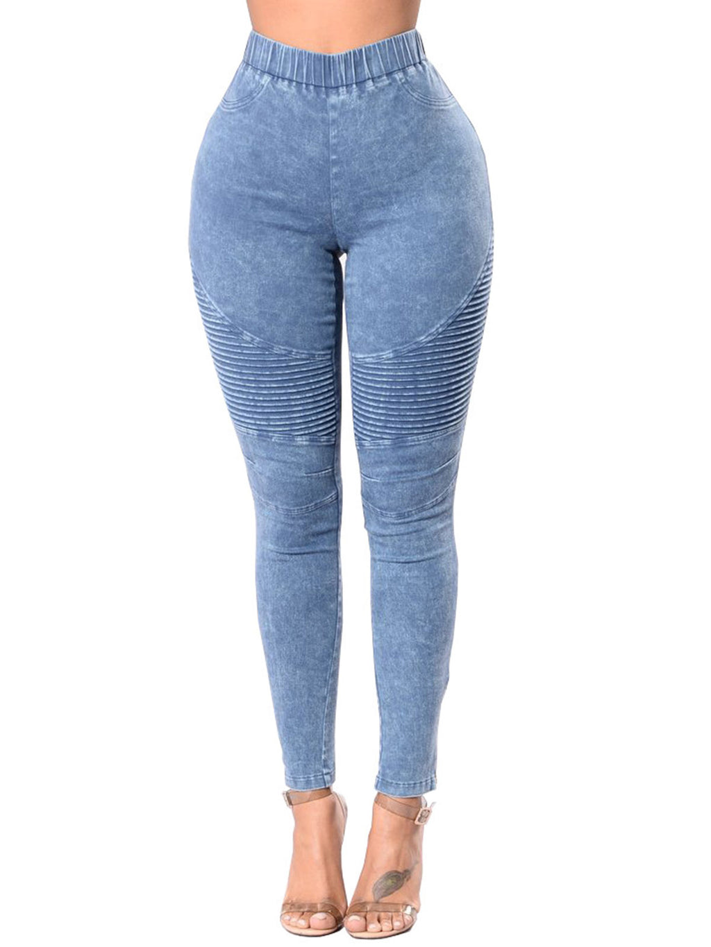 Solid Color Pleated Ankle Length High-Waist Jeans