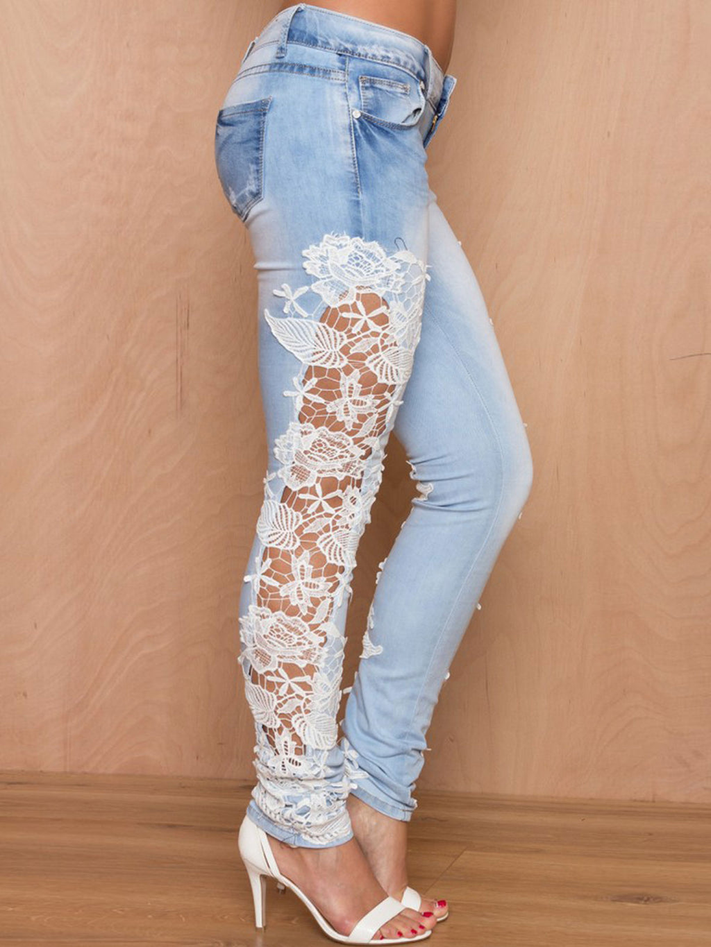 Gradient Lace Hollow Pocket Full Length Jeans